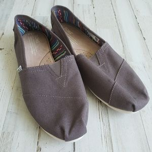 Toms Ash Brown Slip On Flats NWOT
